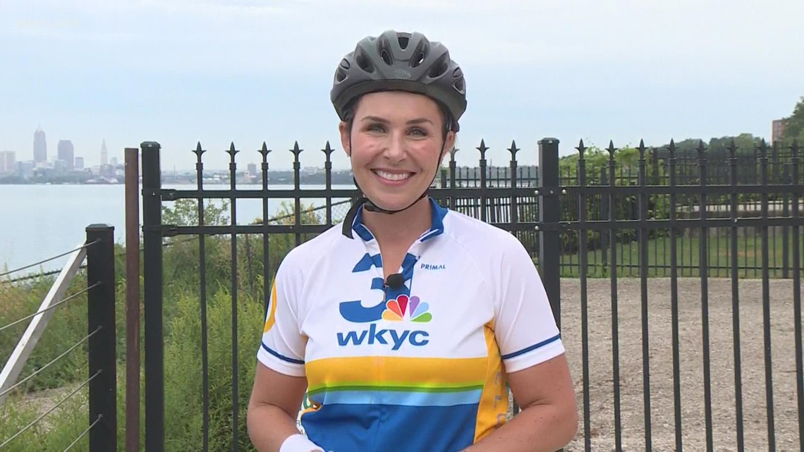 Sara Shookman anchors live from Summer House while riding her bike