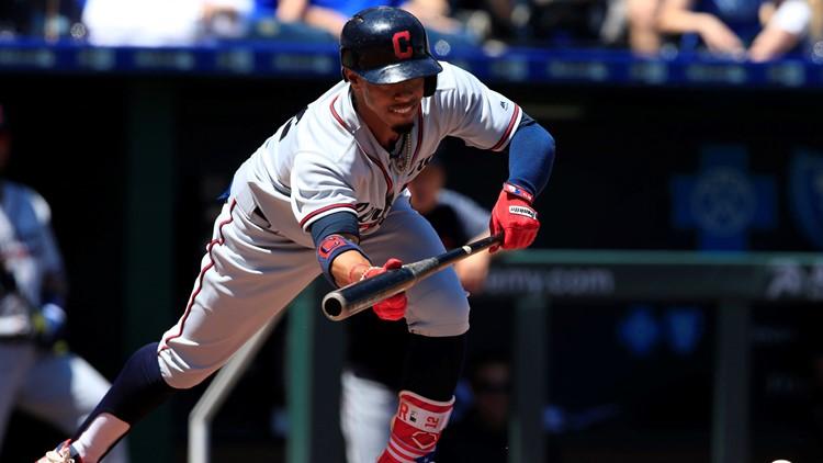 Cleveland Indians SS Francisco Lindor drops down a bunt