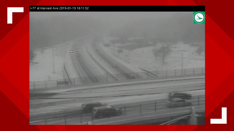 Traffic conditions on I-77 at Harvard Avenue January 19, 2019