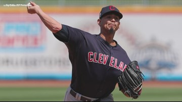 Cleveland Indians pitcher Carlos Carrasco throws live batting practice with Lake County Captains