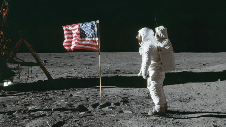 Apollo 11 Mission image - Astronaut Edwin Aldrin poses beside the U.S. flag that has been placed on the moon