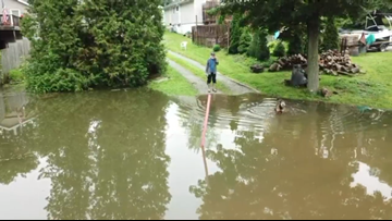 Watch: Drone footage shows flooding at Chippewa Lake