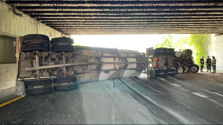 UPDATE: I-90 westbound at Dead Man's Curve in downtown Cleveland reopens after overturned truck closed area for several hours