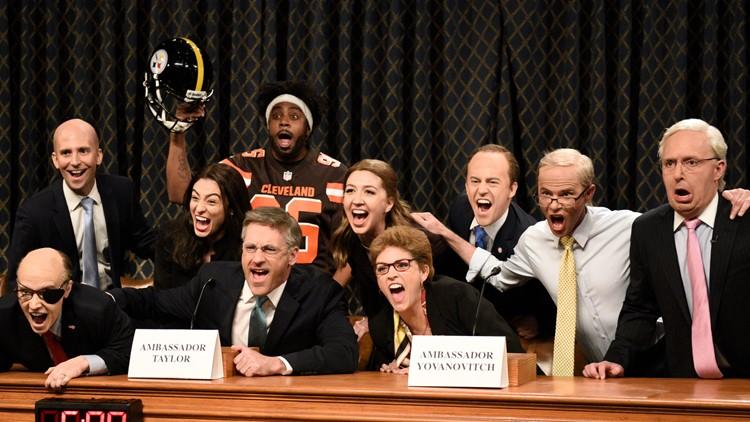 Saturday Night Live parodies Myles Garrett helmet incident