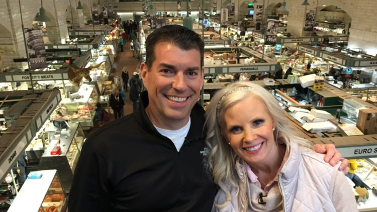 Actress Monica Potter gets a tour of Cleveland's iconic West Side Market with Dave Chudowsky