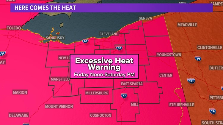 Excessive Heat Warnings expanded: Heat indexes could hit 110+ degrees in Northeast Ohio