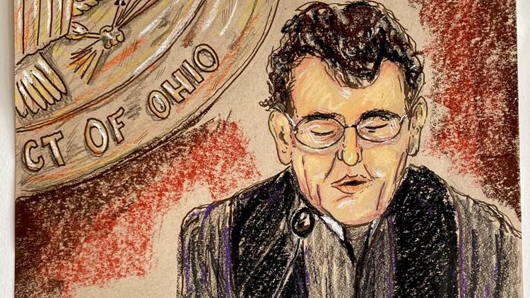 Courtroom sketch opioid lawsuit