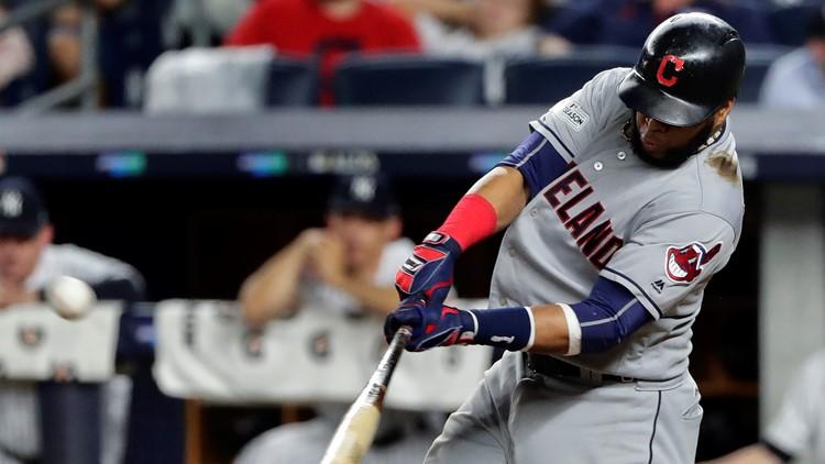 Cleveland Indians INF Carlos Santana hits postseason HR at New York Yankees
