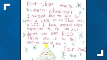 Ravenna boy donates $100 he earned to help buy holiday gifts for another child
