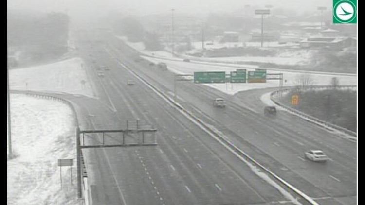 Snowy road conditions on I-77 at Route 18 February 7, 2020