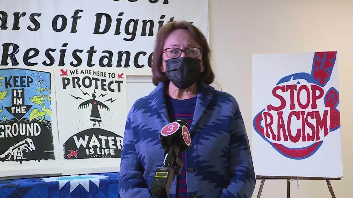 Marjorie Villafane, member of Standing Rock Sioux nation in North Dakoda, talks with 3News