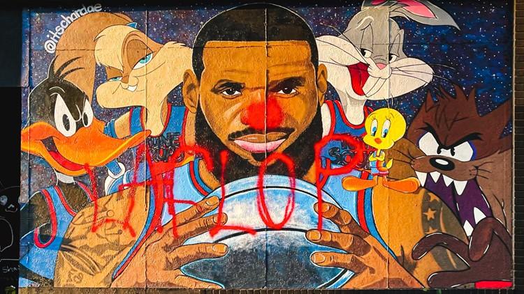 Vandal defaces LeBron James Space Jam 2 mural in Akron