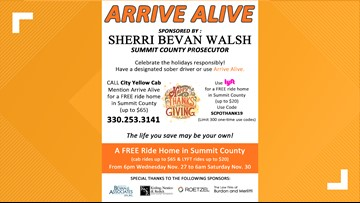 Arrive Alive in Summit County this weekend with a free Lyft and City Yellow Cab rides