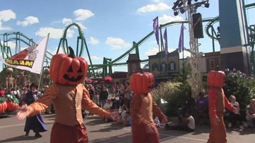 Cedar Point's HalloWeekends parade with Snoopy and Charlie Brown
