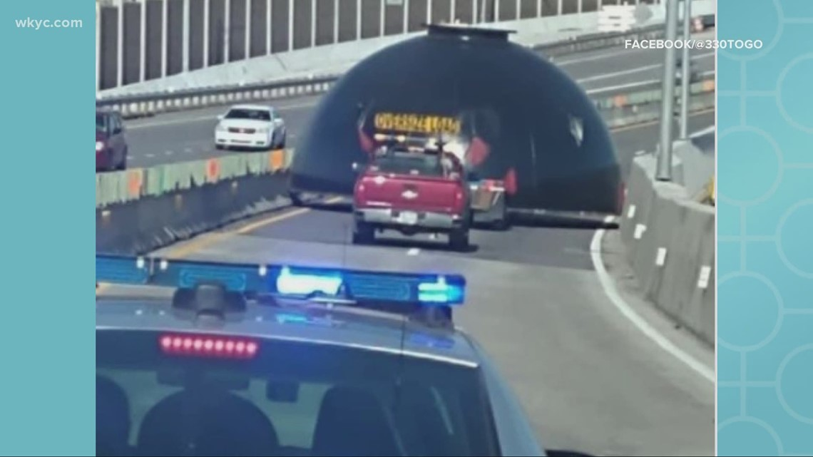 Mysterious dome-shaped object blocks traffic on I-76 West in Akron