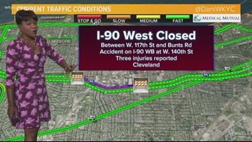 Portion of I-90 West closed in Cleveland due to serious crash