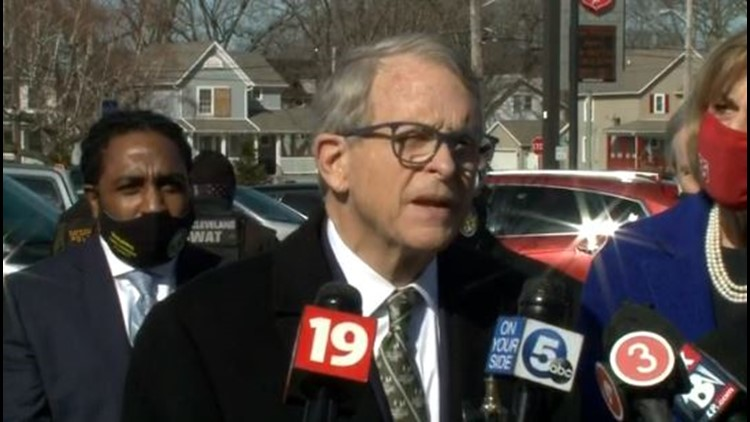 'We have to continue to stay focused': Ohio Gov. Mike DeWine visits East Cleveland COVID-19 vaccination clinic