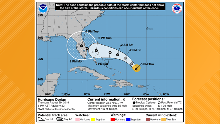 Projected path of Hurricane Dorian on August 29, 2019