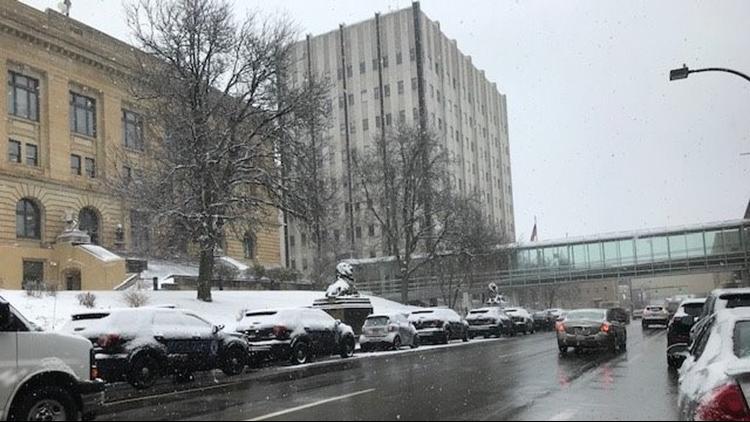 Downtown Akron snow February 7, 2020