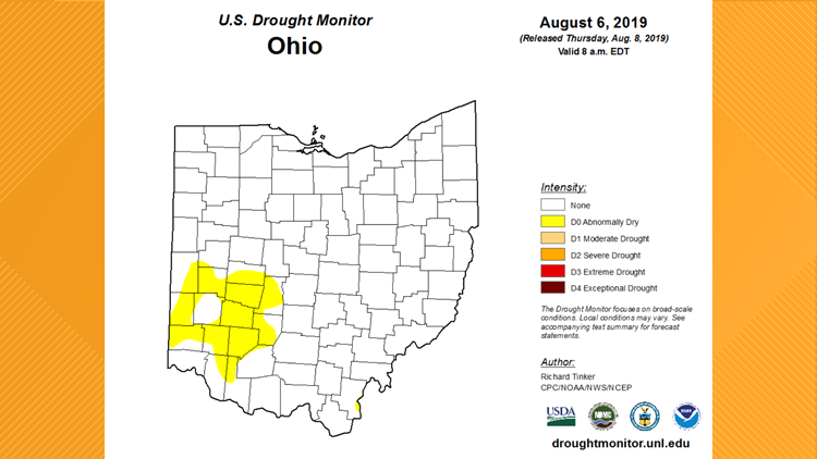 Ohio Drought Monitor for August 6, 2019
