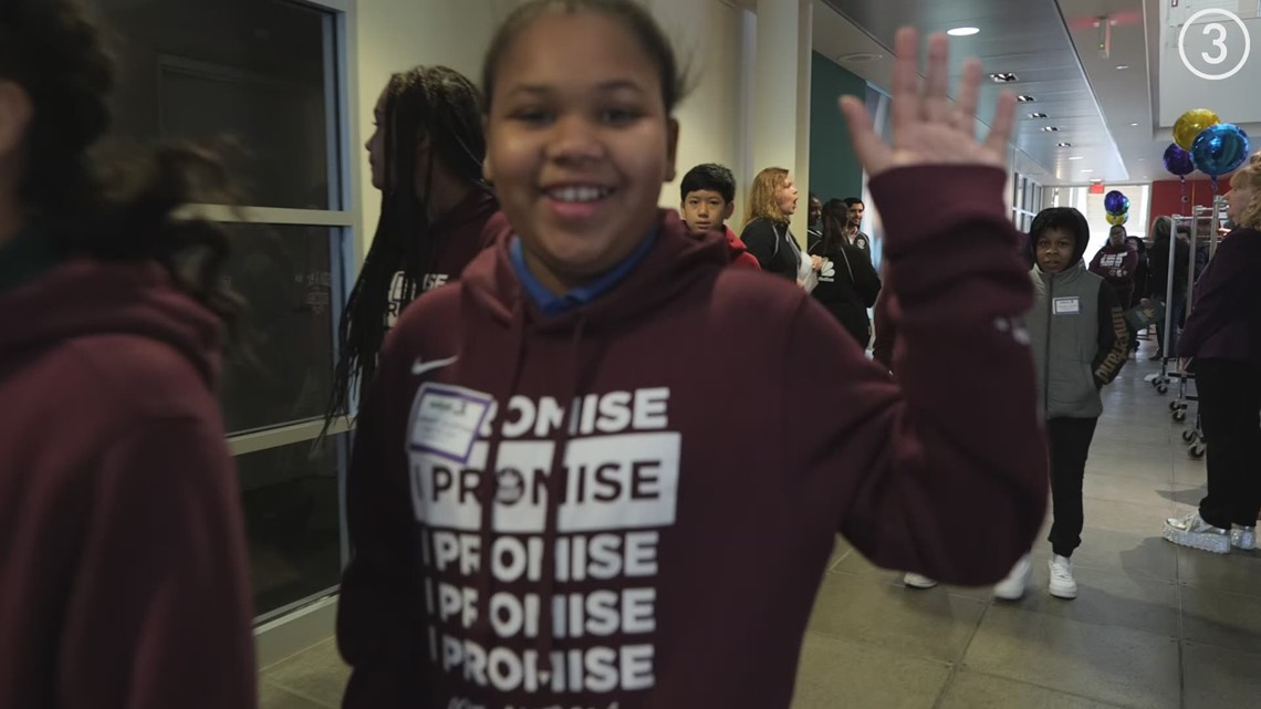 LeBron James Family Foundation's 6th grade students visit WKYC Studios