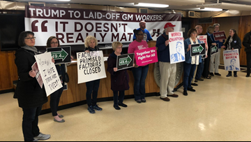 Workers, Dems protest President Trump's visit to Canton