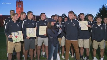 Hollie Strano meets the men's soccer team of John Carroll University