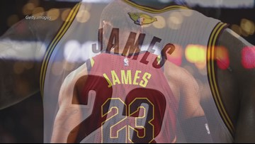 size 40 78402 53a24 LeBron James' Cleveland Cavaliers jerseys on massive ...