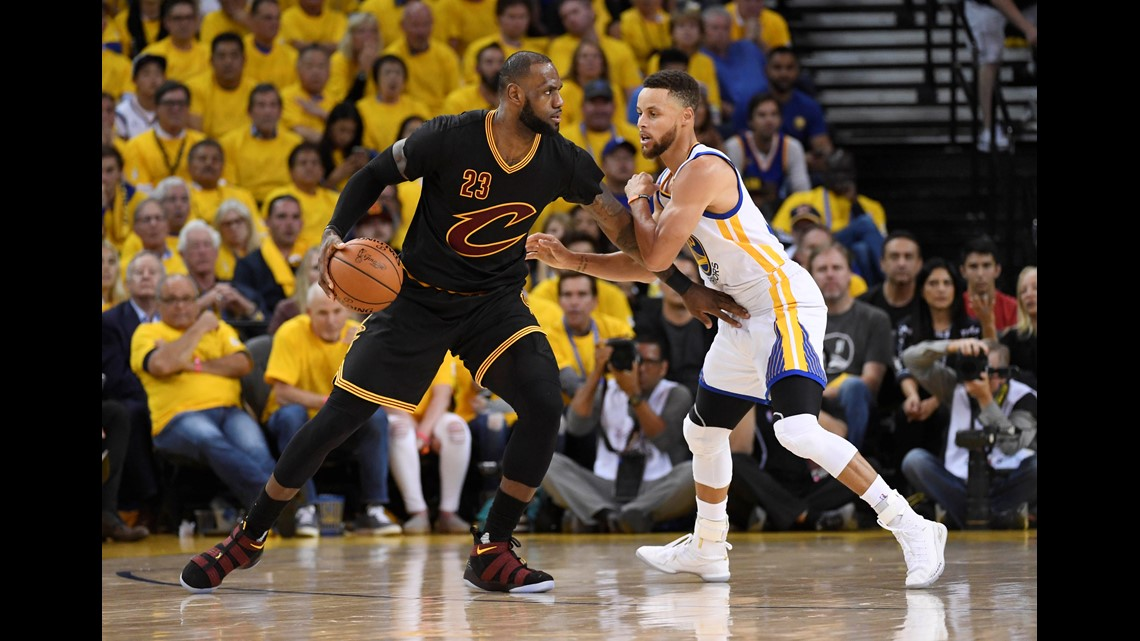 774b02d047d7 Cleveland Cavaliers forward LeBron James (23) is defended by Golden State  Warriors guard Stephen Curry (30) during the third quarter in Game 5 of the  2017 ...