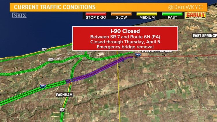 I-90 closed until Thursday at Pennsylvania state line | wkyc.com on us 30 road map, i-90 today, interstate 90 wisconsin map, sr 99 road map, route 20 road map, i90 road map, us 20 road map, i 10 road map, highway 50 road map, i-90 corridor, i-70 road map, i-57 road map, i-72 road map, i-93 boston map, interstate 5 road map, route 90 map, i 90 tollway map, i-90 traffic cameras, i-90 weather conditions, pennsylvania turnpike road map,