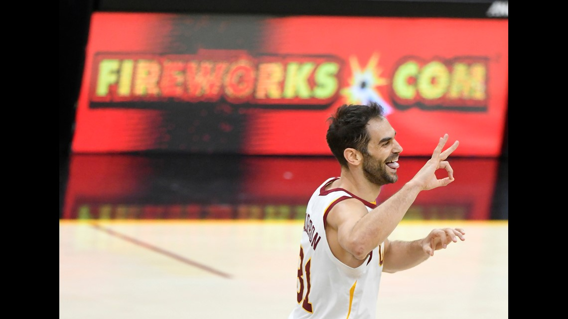 Cleveland Cavaliers guard Jose Calderon (81) celebrates his three-point  basket in the second quarter against the Toronto Raptors at Quicken Loans  Arena. 9a2b1967b