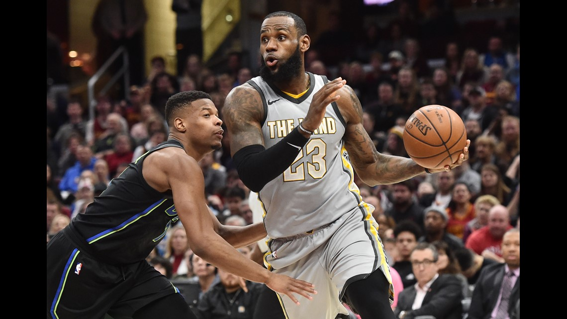 low priced e7689 4474c Cleveland Cavaliers forward LeBron James (23) drives to the basket against  Dallas Mavericks guard Dennis Smith Jr. (1) during the second half at  Quicken ...