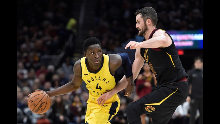 Victor Oladipo led the Indiana Pacers to a 98-80 Game 1 win over the Cleveland Cavaliers in the 2018 NBA Playoffs at Quicken Loans Arena Sunday.