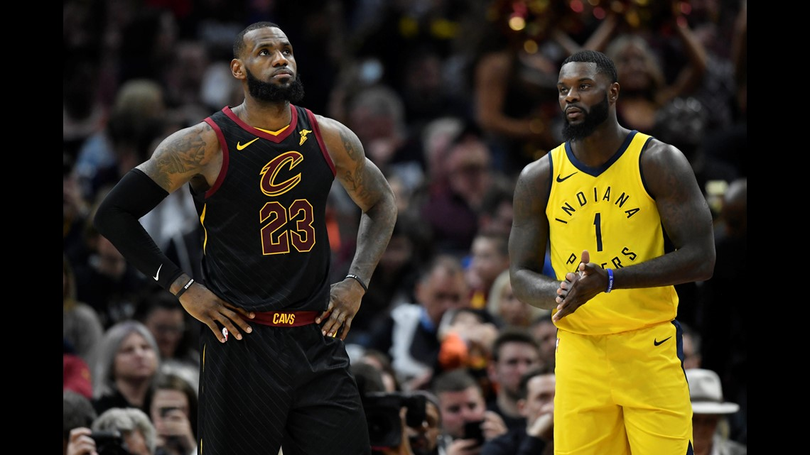 9d68fdda65a Cleveland Cavaliers forward LeBron James (23) and Indiana Pacers guard  Lance Stephenson (1) react to a call in the second quarter in Game 1 of the  first ...