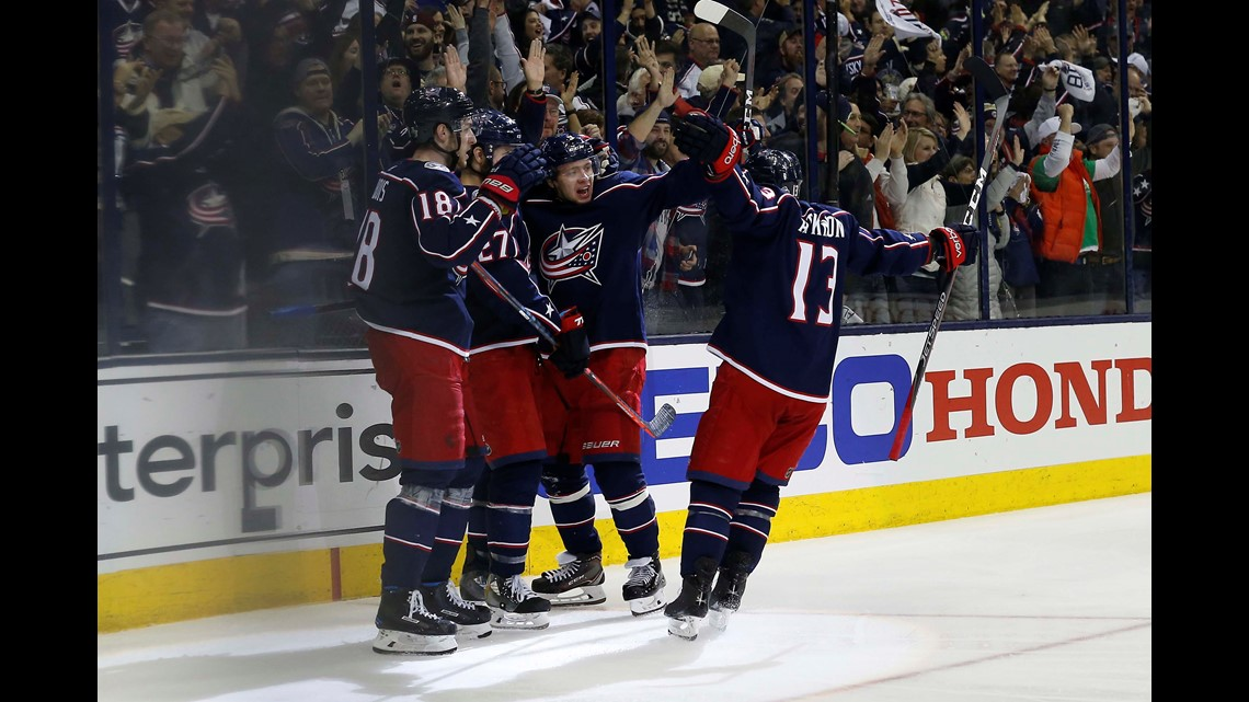 9e9909859e5 Columbus Blue Jackets left wing Artemi Panarin (9) celebrates a goal  against the Washington Capitals during the third period in Game 3 of the  first round of ...