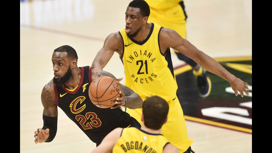 d2f3348a77b1 Cleveland Cavaliers forward LeBron James (23) drives to the basket between  Indiana Pacers forwards Thaddeus Young (21) and Bojan Bogdanovic (44)  during the ...