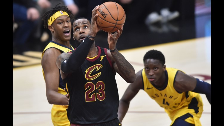 c8be5e1c5818 LeBron James scores 46 points as Cleveland Cavaliers earn 100-97 Game 2 win  over Indiana Pacers