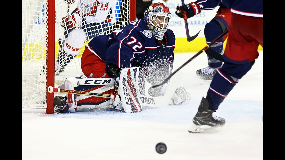 15438cb3f09 Columbus Blue Jackets goaltender Sergei Bobrovsky (72) follows the puck  against the Washington Capitals in the second period in Game 4 of the first  round of ...