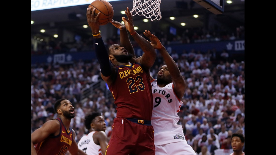 Cleveland Cavaliers forward LeBron James (23) goes up for a shot as Toronto  Raptors forward Serge Ibaka (9) defends during the first half of Game 1 of  the ... 4a1e23c7e