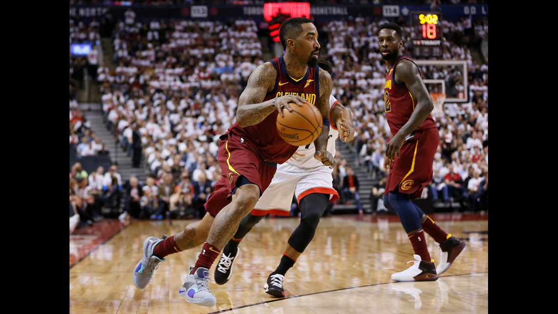 8b2bfcfdcc88 Cleveland Cavaliers guard JR Smith (5) drives to the net against the  Toronto Raptors during the first half of Game 1 of the 2018 NBA Eastern  Conference ...