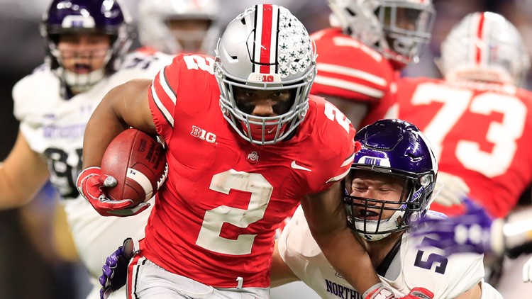 Indianapolis Indiana December 01 J K Dobbins 2 Of The Ohio State Buckeyes Runs Ball In Against Northwestern Wildcats Second