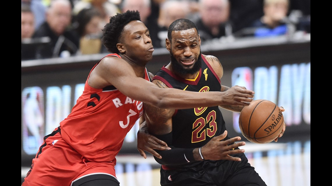 f0cf79bb0013 Cleveland Cavaliers forward LeBron James (23) drives to the basket against  Toronto Raptors forward OG Anunoby (3) during the first half in Game 3 of  the ...