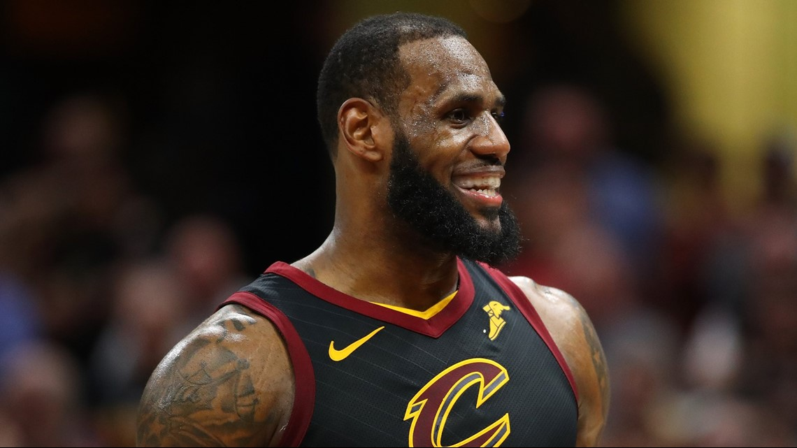 6b2dc1d5a379 Cleveland Cavaliers small forward LeBron James smiles after hitting a  buzzer-beating shot to defeat the Toronto Raptors in Game 3 of the 2018 NBA  Eastern ...