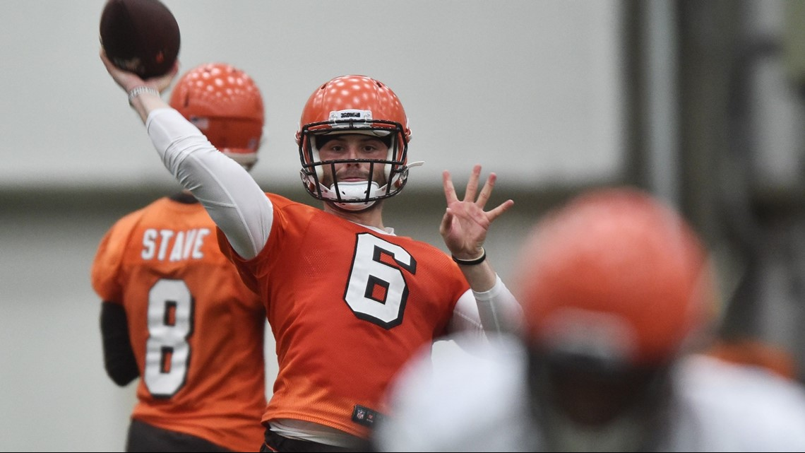 f06a07de99 Cleveland Browns quarterback Baker Mayfield warms up prior to the start of  practice at Rookie Mini Camp at team headquarters in Berea, Ohio.