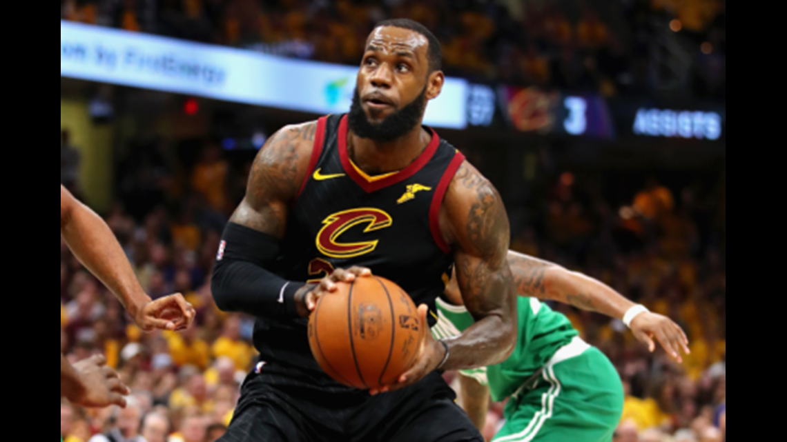Cleveland Cavaliers small forward LeBron James drives to the hoop during  the first half of Game 3 of the 2018 NBA Eastern Conference Finals at  Quicken Loans ... 88cbdb8cb867