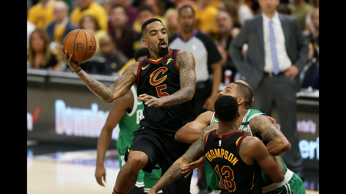 Cleveland Cavaliers guard JR Smith (5) looks to pass against the Boston  Celtics during the first half of Game 3 of the 2018 NBA Eastern Conference  Finals at ... c569e1987