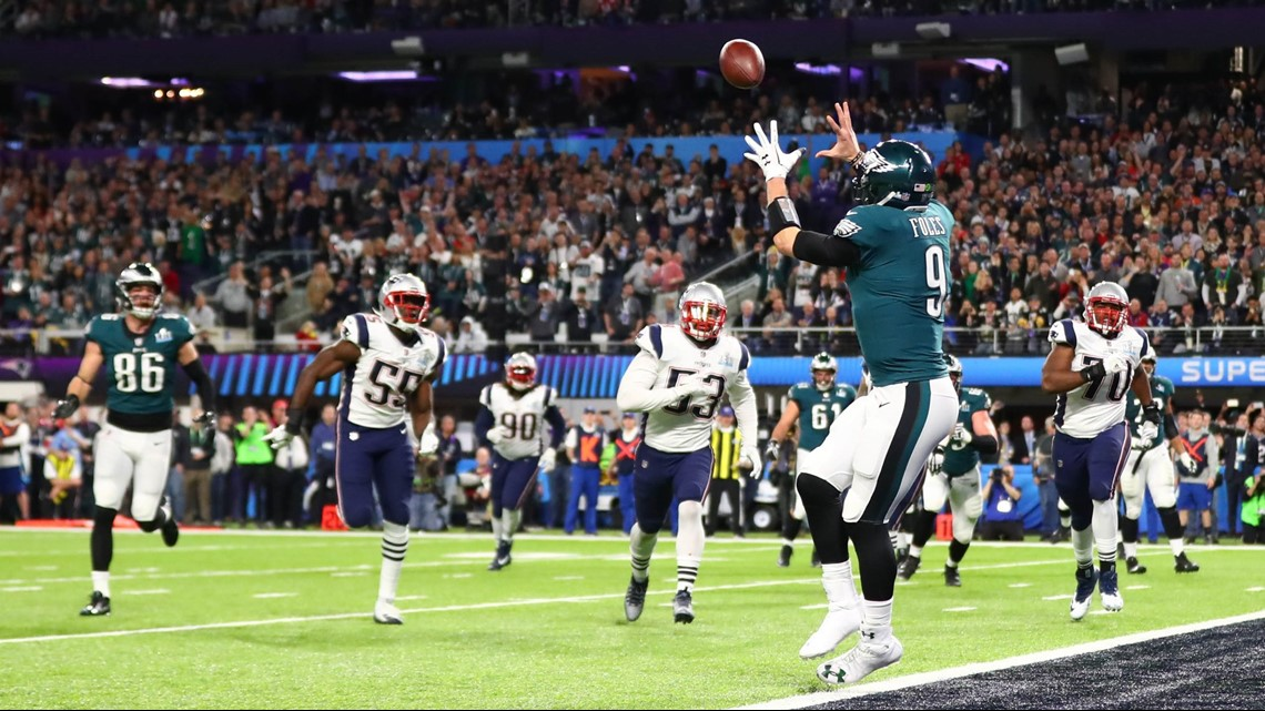 221ee64c4 Philadelphia Eagles quarterback Nick Foles catches a touchdown pass late in  the first half of Super Bowl LII against the New England Patriots at U.S.  Bank ...