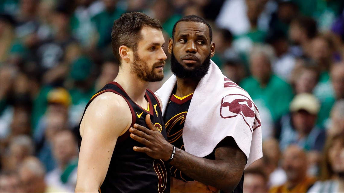 64b031cba42c Cleveland Cavaliers small forward LeBron James (23) attempts to console  power forward Kevin Love after a foul call during the first half of Game 5  of the ...