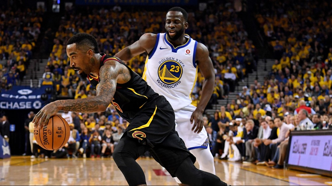 37cbf51db3e9 Cleveland Cavaliers shooting guard JR Smith drives to the basket against  the Golden State Warriors in Game 1 of the 2018 NBA Finals at Oracle Arena  in ...