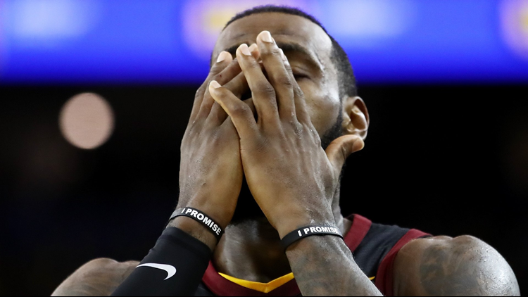 New footage shows LeBron James  extended reaction to Cleveland Cavaliers   Game 1 gaffe 9ce3d0528